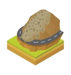 Rockfall icon in cartoon style vector