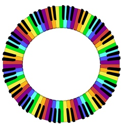 round colored piano keyboard frame vector image