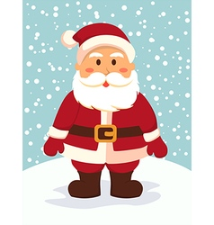 Santa Standing in Snowy Day vector image