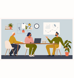 Scene at office men and woman sit taking part vector