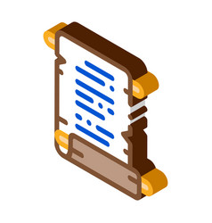 scroll parchment paper isometric icon vector image