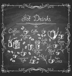 set hand drawn drinks on chalk board vector image