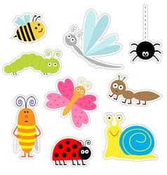 set of nine insects sticker Flat deign vector image