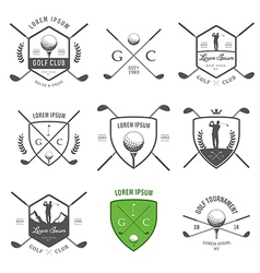 set vintage golf labels and badges vector image