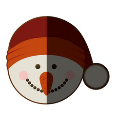 Silhouette of snowman head with christmas hat and vector