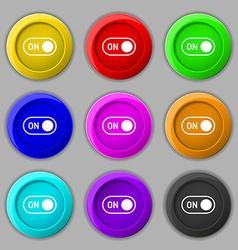 start icon sign symbol on nine round colourful vector image