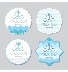 Stickers with palm seagulls island and waves vector