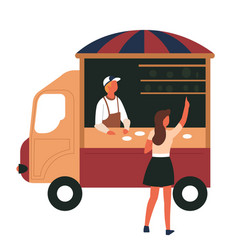 street food truck girl and vendor snack isolated vector image
