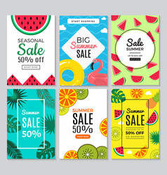 summer banners mobile floral tropical background vector image