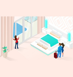 Summer vacation in luxury hotel isometric vector