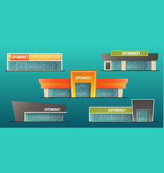 supermarket buildings set vector image