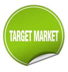 Target market round green sticker isolated on vector