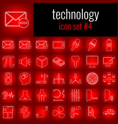 technology icon set 4 white line icon on red vector image