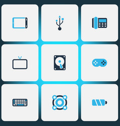 technology icons colored set with telephone hdd vector image