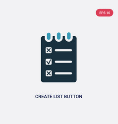 Two color create list button icon from web vector