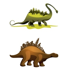 Two dinosaurs with buildings on neck vector image