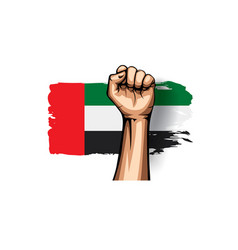 united arab emirates flag and hand on white vector image