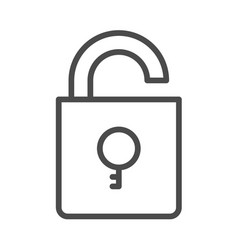 unlock outline security icon with key vector image