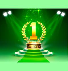winner 1 best podium award sign golden object vector image