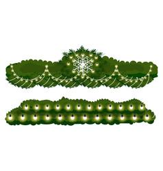 Winter decoration fir branch with light vector