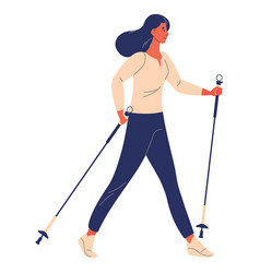 Woman training nordic walking cartoon vector