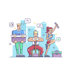 workers man and woman vector image