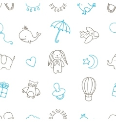 Baby shower related seamless pattern Hand drawn vector image vector image