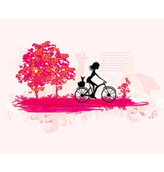 Cycling Grunge Poster with silhouette Girl vector image vector image
