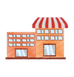 drawing building marker shopping vector image