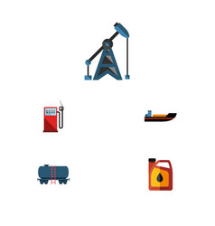 flat icon oil set of rig container boat and vector image vector image