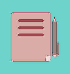 flat icon with thin lines notebook pen vector image vector image