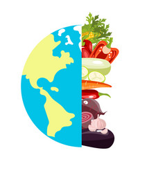 globe sign with different vegetables poster vector image
