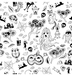 Halloween seamless monochrome kids doodle pattern vector image vector image