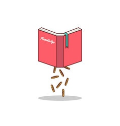Isolated cartoon knowledge book to earn money vector image vector image