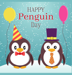 penguin awareness day theme design two cute vector image vector image