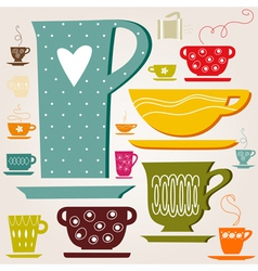Set of color cup vector image