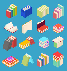 stack of color books set isometric view vector image vector image