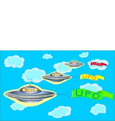 ufo parade on blue sky vector image vector image