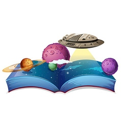 Book of astronomy with spaceship in galaxy vector image vector image