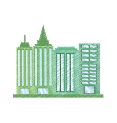 drawing building office work vector image