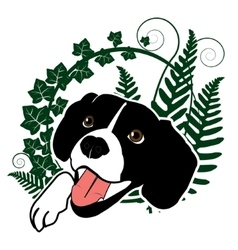 Cute happy dog in the ferns vector