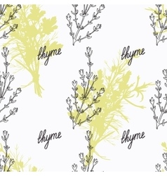 Hand drawn thyme branch and handwritten sign vector image