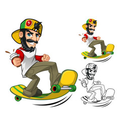 Hipster On Longboard vector image