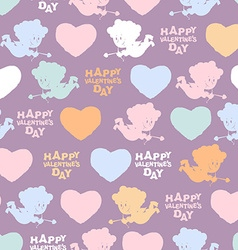 Romantic seamless pattern Cupid and hearts Happy vector image vector image