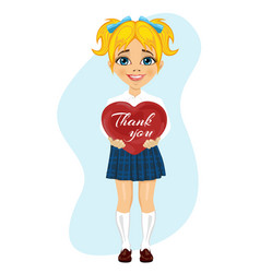 schoolgirl holding red heart with thank you text vector image