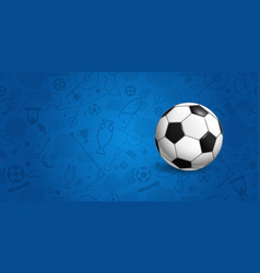soccer ball on blue background vector image vector image