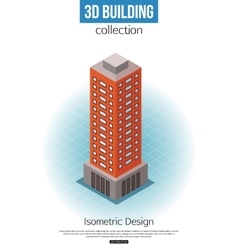 3d isometric tall building icon for map building vector image