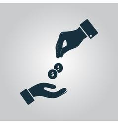 Hands giving and receiving money vector