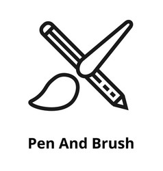 pen and brush thin line icon vector image