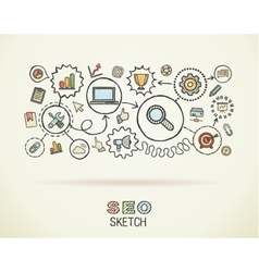 SEO hand draw integrated icons set on paper vector image vector image